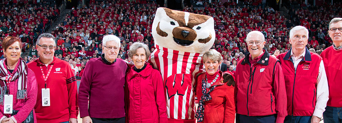 The Badger Leadership Society at a Basketball Game