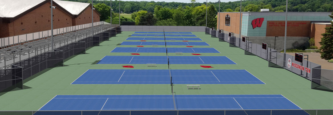 Wisconsin Tennis Rendering showing multiple new tennis courts with stands for visitors to sit in.