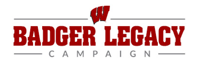 A banner with the words 'Badger Legacy Campaign' in it along with an image of the Motion W logo.