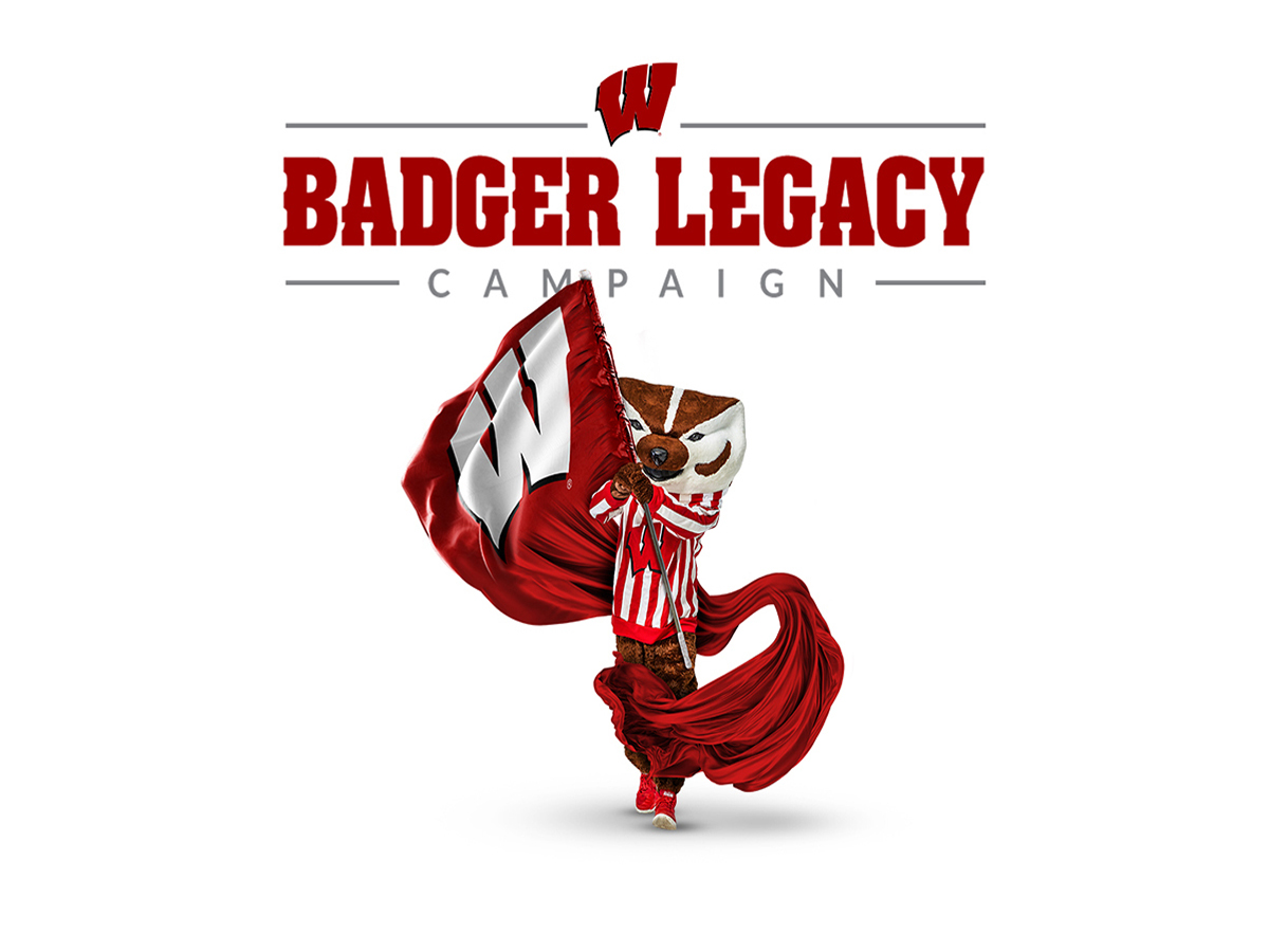 Bucky Badger Holding a Flag with the words Badger Legacy Campaign above it.
